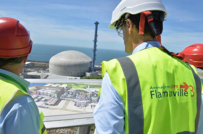 Sur le chantier de l'EPR de Flamanville (Manche), en mai 2017