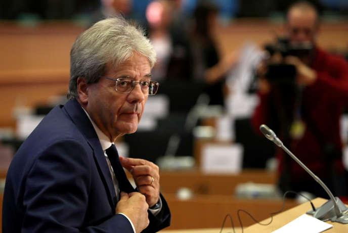 Ủy viên mới về Kinh tế, Paolo Gentiloni, vào ngày 3 tháng 10 năm 2019 tại Nghị viện Châu Âu tại Brussels.