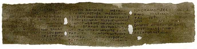 Fac-similéd'un papyrus d'Herculanum, extrait de«Tesoro letterario di Ercolano, ossia la Reale Officina dei Papiri Ercolanesi»(1858).
