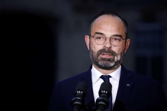 Edouard Philippe lors de son discours à Matignon, au lendemain des manifestations, Paris le 6 décembre.