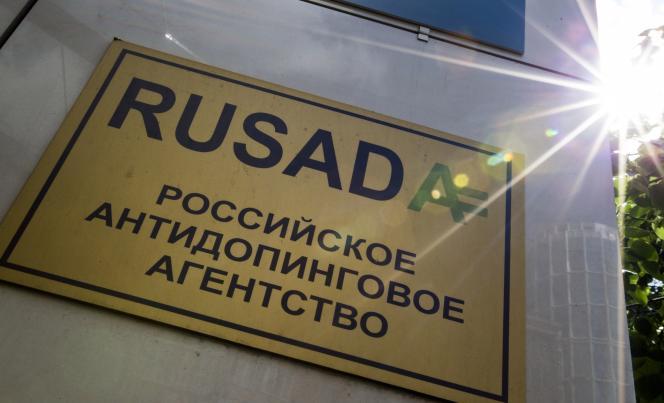 Le panneau del'Agence russe antidopage (Rusada).