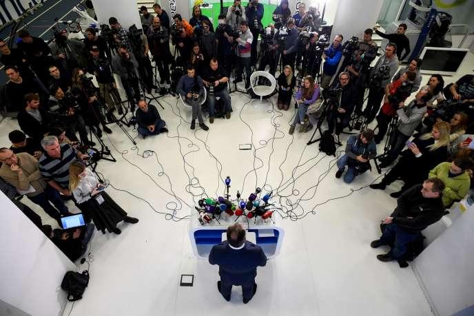 Conférence de presse de Stanislav Pozdniakov, le président du comité olympique russe, à Moscou, le 9 décembre, après l'annonce de la suspension du pays.