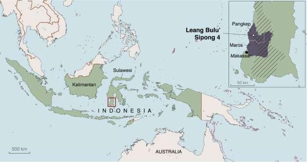 Carte de localisation de la grotte de Leang Bulu Sipong 4.