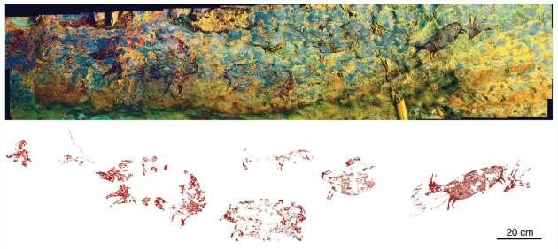 Panorama de la scène de chasse, en fausse couleur, avec le relevé permettant de visualiser les personnages et animaux.