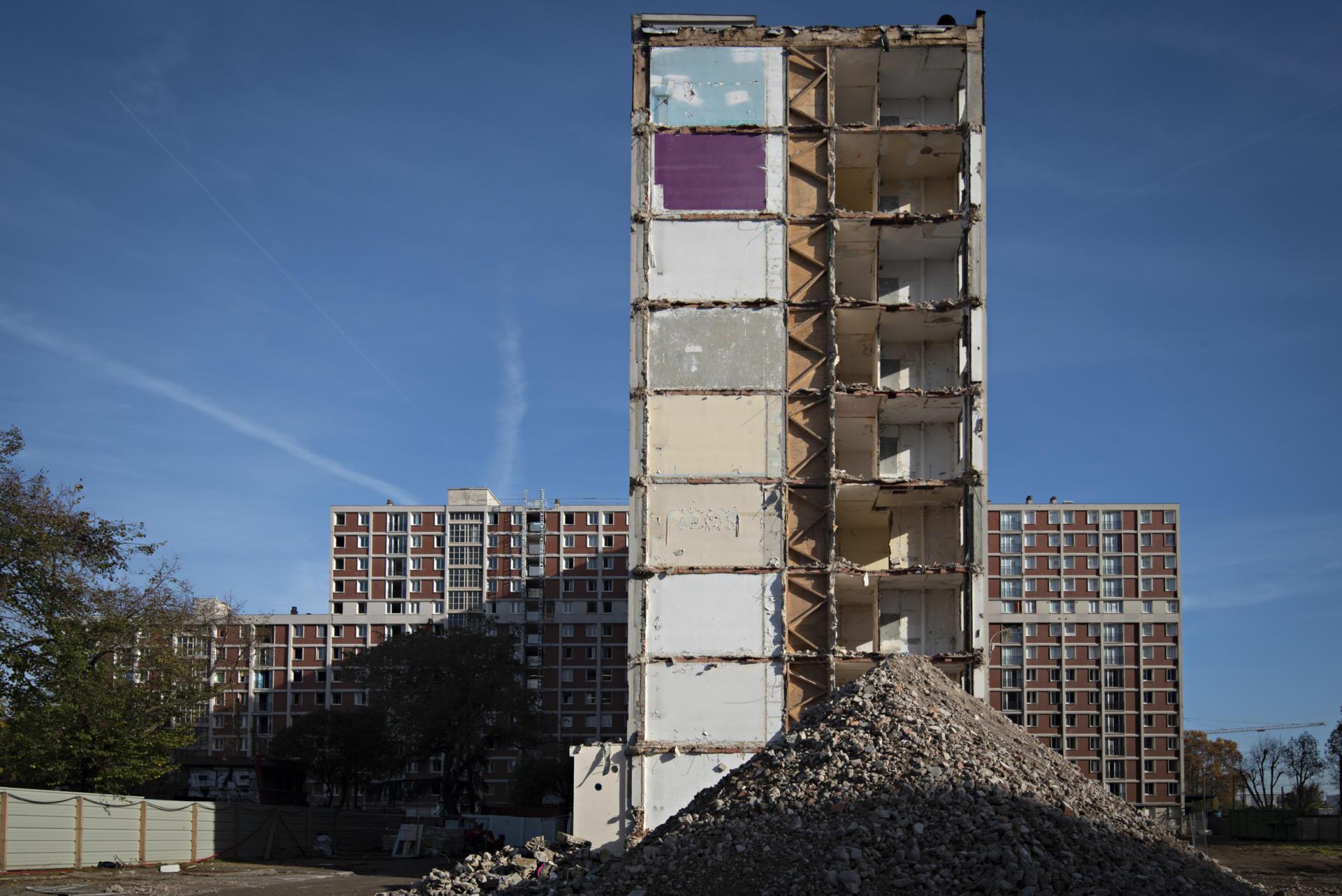 Le chantier de la cité Gagarine,à Ivry-sur-Seine, en novembre.