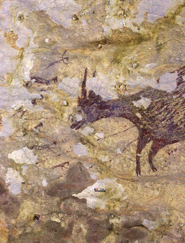 Scène de chasse datée d'au moins 44 000 ans dans une grotte de l'île indonésienne de Sulawezi. Un bovin nain local (à droite) fait face à des personnages mi-humains, mi-animaux dont certains sont reliés à lui par des lignes (lances ou cordes).