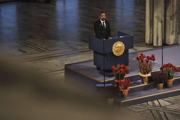 Le premier ministre éthiopien, Abiy Ahmed, lors de son discours de réception du prix Nobel de la paix, à Oslo, le 10décembre 2019.