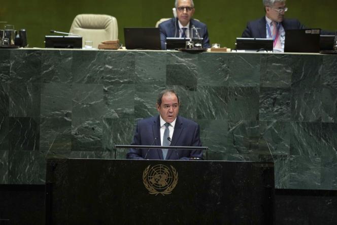 Le ministre algérien des Affaires étrangères Sabri Boukadoum au siège des Nations unies, à New York,le 27 septembre.