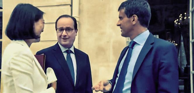 François Hollande et Manuel Valls donnant des conseils à Fleur Pellerin, alors qu'elle vient d'êtrenommée ministre de la culture.