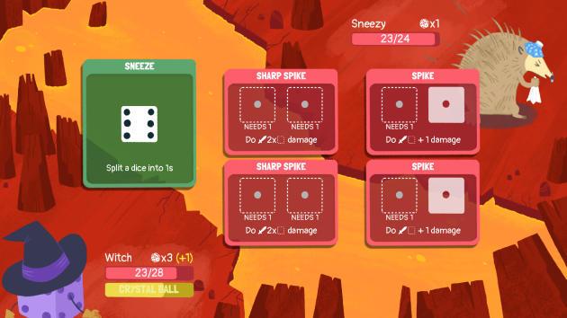 L'astucieux jeu «Dicey Dungeons» consiste à utiliser des dés pour se battre, autant dire qu'il est comme chez lui sur ce plateau.
