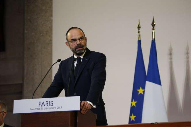 Edouard Philippe, devant le Conseil économique, social et environnemental, le 11décembre.