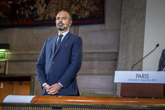Edouard Philippe, premier ministre, dévoile le détail de la réforme des retraites devant le Conseil économique, social et environnemental, à Paris, mercredi 11 décembre 2019.