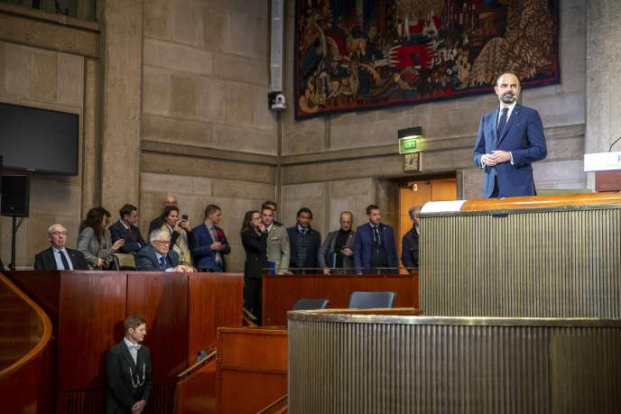 Edouard Philippe, le premier ministre, dévoile le détail de la réforme des retraites devant le Conseil économique, social et environnemental, à Paris, le 11décembre.