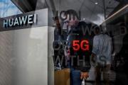 Un stand de l'opérateur chinois Huawei promouvant le déploiement de la 5G, au Web Summit à Lisbonne, le 6 novembre.