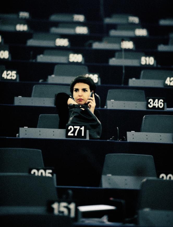 Rachida Dati au parlement européen, à Strasbourg, le 14 juillet 2009, avant l'ouverture de la session parlementaire.