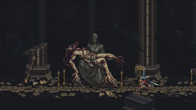 Le jeu d'exploration sado-maso-gothique «Blasphemous», quand il est pris d'un fou rire.