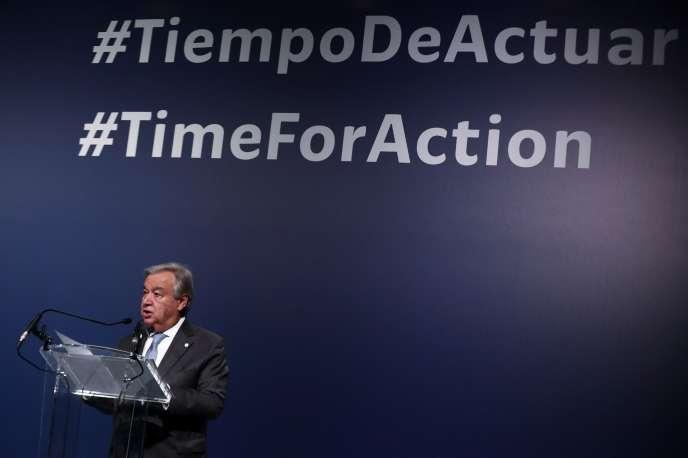 Le secrétaire général des Nations unies, Antonio Guterres, lors de la COP25 à Madrid, le 12 décembre.