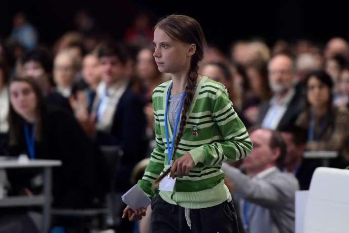L'activiste suédoise Greta Thunberg avant son intervention dans la salle plénière du sommet de l'ONU sur le climat, à Madrid, le 11 décembre.
