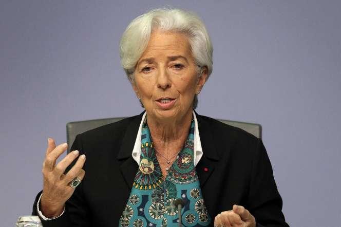 Christine Lagarde, présidente de la Banque centrale européene, à Francfort, jeudi 12 décembre.