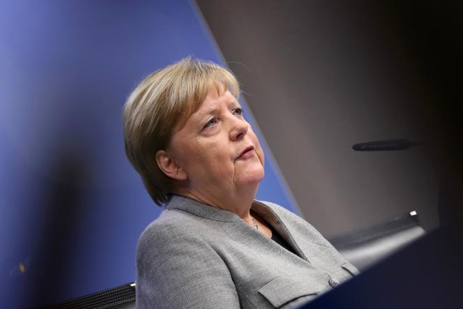 La chancelière allemande, Angela Merkel, lors d'une conférence de presse à Bruxelles, le 13 décembre 2019.