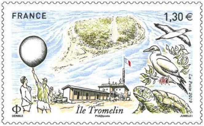 « Ile Tromelin», timbre dessiné par Patrick Dérible et gravé en taille-douce par Claude Jumelet.