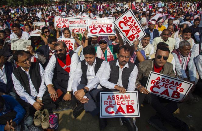 Manifestation contre la loi sur la nationalité, à Guwahati, en Inde, le 13 décembre 2019.