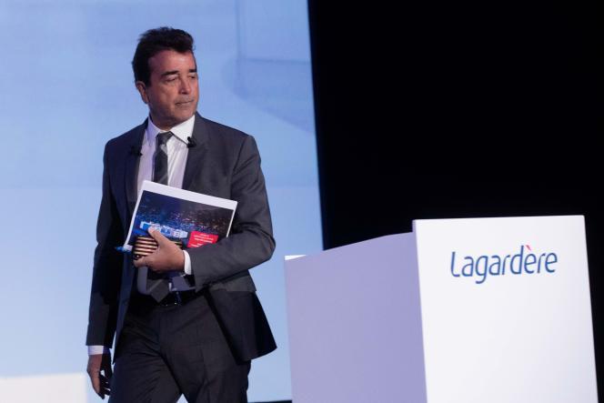 Arnaud Lagardère, lors de l'assemblée des actionnaires du groupe, à Paris, le 3 mai 2018.