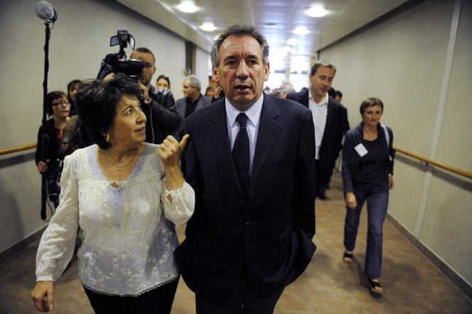 Corinne Lepage et François Bayrou, le 15 juin2008 à Nanterre.