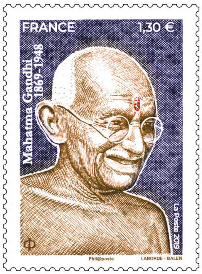 Tmbre-poste à l'effigie de Gandhi, paru le 7 octobre. Dessin et gravure: Christophe Laborde-Balen. Tirage: 500016 exemplaires.
