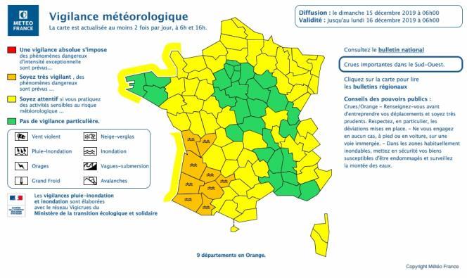 Carte des vigilances de Météo France du 15 décembre.