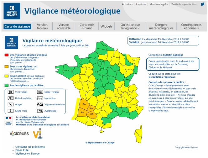 Bulletin vigilance Météo-France du dimanche 15décembre.
