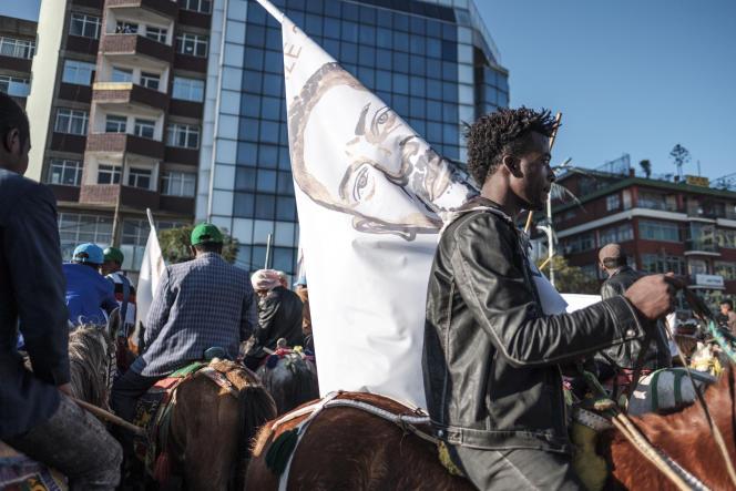 A Addis-Abeba, le 12 décembre 2019, comité d'accueil des partisans du Prix Nobel de la paix, le premier ministre Abiy Ahmed,de retour de Norvège.