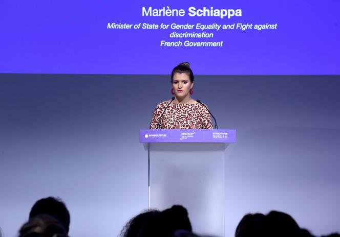 Marlène Schiappa, secrétaire d'Etat chargée de l'égalité entre les femmes et les hommes, à Paris, le 20novembre.