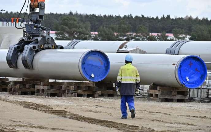 Sur le chantier de Nord Stream 2, à Lubmin, dans le nord-est de l'Allemagne, le 26 mars.