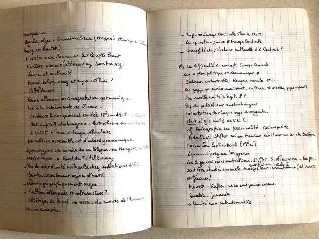 Le cahier de cours d'un des participants au séminaire de Milan Kundera, Norbert Czarny, aujourd'hui critique littéraire.