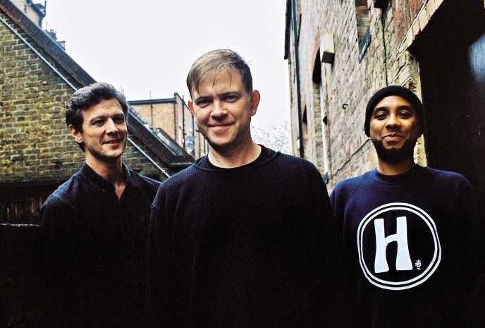 De gauche à droite, Alexis Smith, Dan Carey et Pierre Hall, les trois piliers du label Speedy Wunderground, en octobre 2019, à Londres.