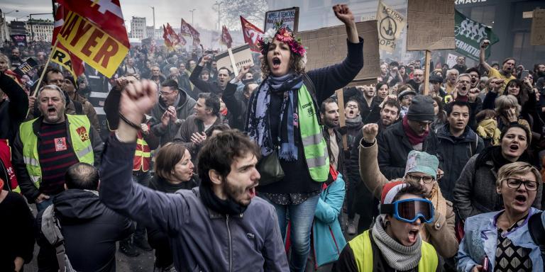 Lyon, 17 décembre 2019. Manifestation contre la réforme des retraites.
