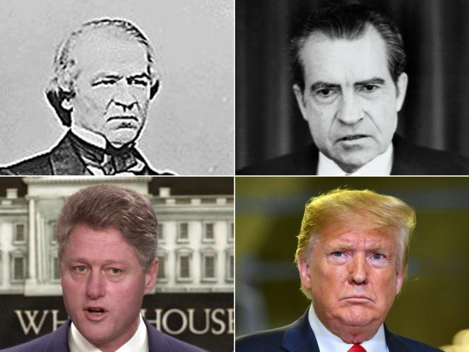 Les quatre présidents américains ayant fait l'objet d'une procédure de destitution: Andrew Johnson, Richard Nixon, Bill Clinton et Donald Trump.
