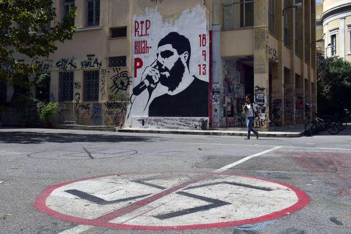 Une fresque à l'effigie de Pavlos Fyssas, tué le 18 septembre 2013, à Athènes.