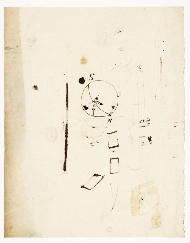 Lors d'une séancede l'Académie des sciencesdu 18 septembre 1820, André Ampère montra à l'aide de ce dessin comment connaîtrele sens de l'action magnétique d'un courant: un homme, traversé par le courant, indique la direction du Nord avec son bras gauche.Document issu du travail de recherche «Images de pensée» mené par Marie-Haude Caraës et Nicole Marchand-Zanartu.