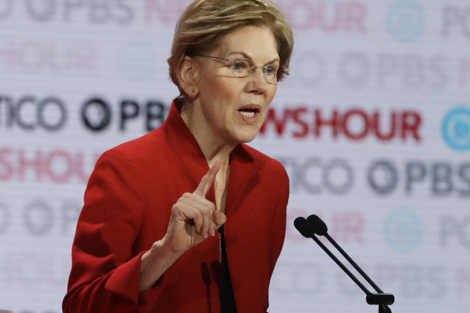 Elizabeth Warren, lors du sixième débat démocrate à Los Angeles (Californie), le 19 décembre 2019.