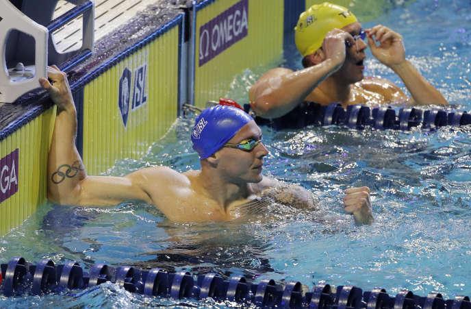 Caeleb Dressel dans le bassin de Las Vegas, lors de l'ultime étape de la Ligue internationale de natation, le 20 décembre.