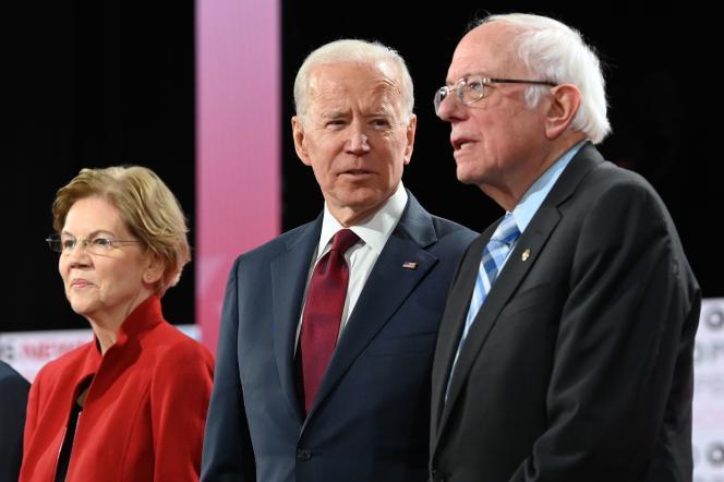 Elizabeth Warren, Joe Biden et Bernie Sanders lors du sixième débat démocrate, à Los Angeles (Californie), le 19 décembre 2019.