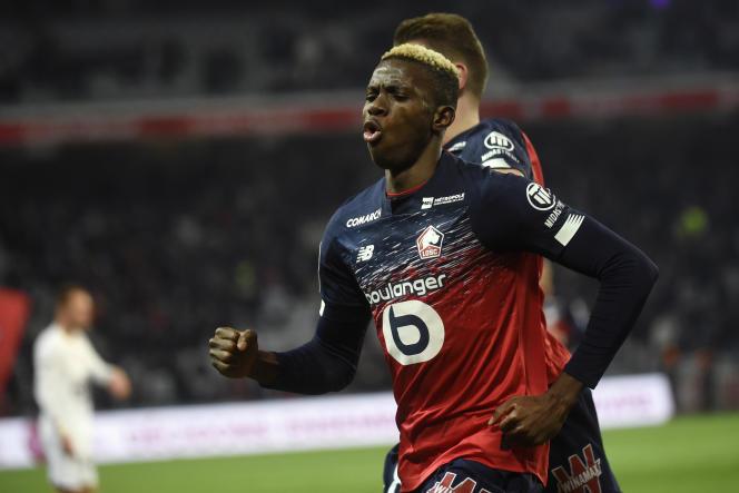 Victor Osimhen lors d'un match entre son équipe de Lille et celle de Brest, à Villeneuve-d'Ascq, le 6 décembre 2019.