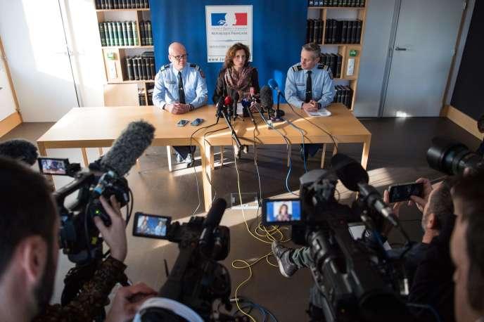 Laureline Peyrefitte, procureure de Lorient, lors d'une conférence de pressevendredi 20décembre.