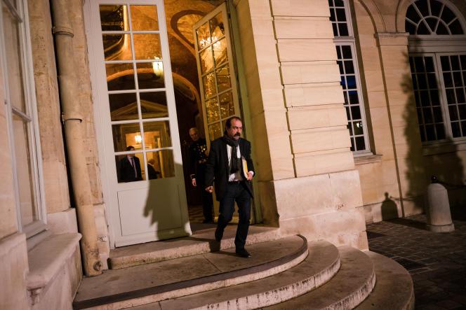 Philippe Martinez,secrétaire général de la CGT,à l'issue de la réunion à Matignon, le 19 décembre.