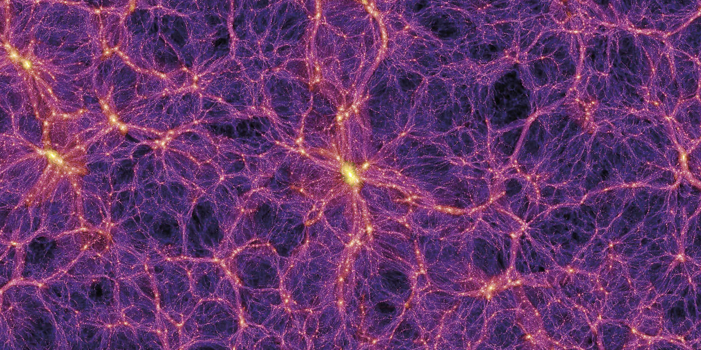Dark matter distribution. Image 2 of 4. Supercomputer simulation, known as the Millennium Run, showing the distribution of dark matter in the local universe. The frame is 253 megaparsecs 824 million light years in distance across. Dark m