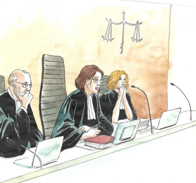 Les trois juges du procès France Telecom, le 20 décembre au tribunal correctionnel de Paris.