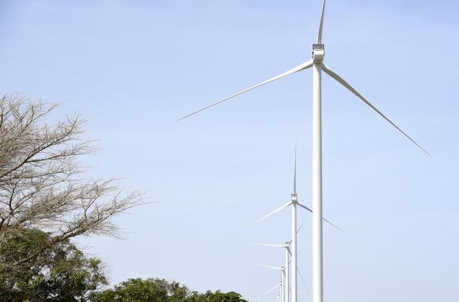 Les éoliennes du premier parc éolien à grande échelle du Sénégal, Taiba Ndiaye.