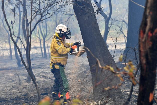 Un pompier volontaire coupe des arbres brûlés à Dargan, à 120 kilomètres de Sydney, le 18 décembre.
